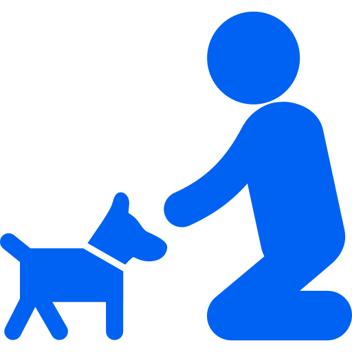 Blue icon-man-on-his-knees-to-cuddle-his-dog