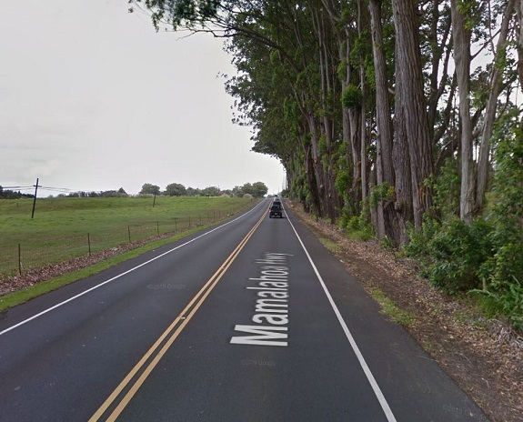 Mamalahoa Highway in Waimea between Kipuupuu Street and Mealani Road.