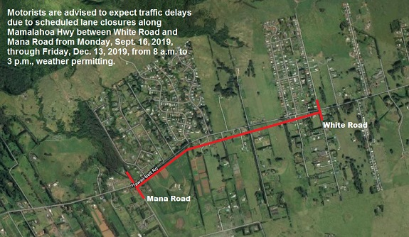 Ongoing Waimea Roadwork to Impact Traffic Through mid-December