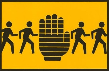 Pedestrians and hand signal clip art thumbnail