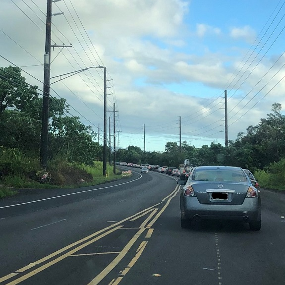 Cars stopped in traffic on Highway 130 in Keaau 8.8.19