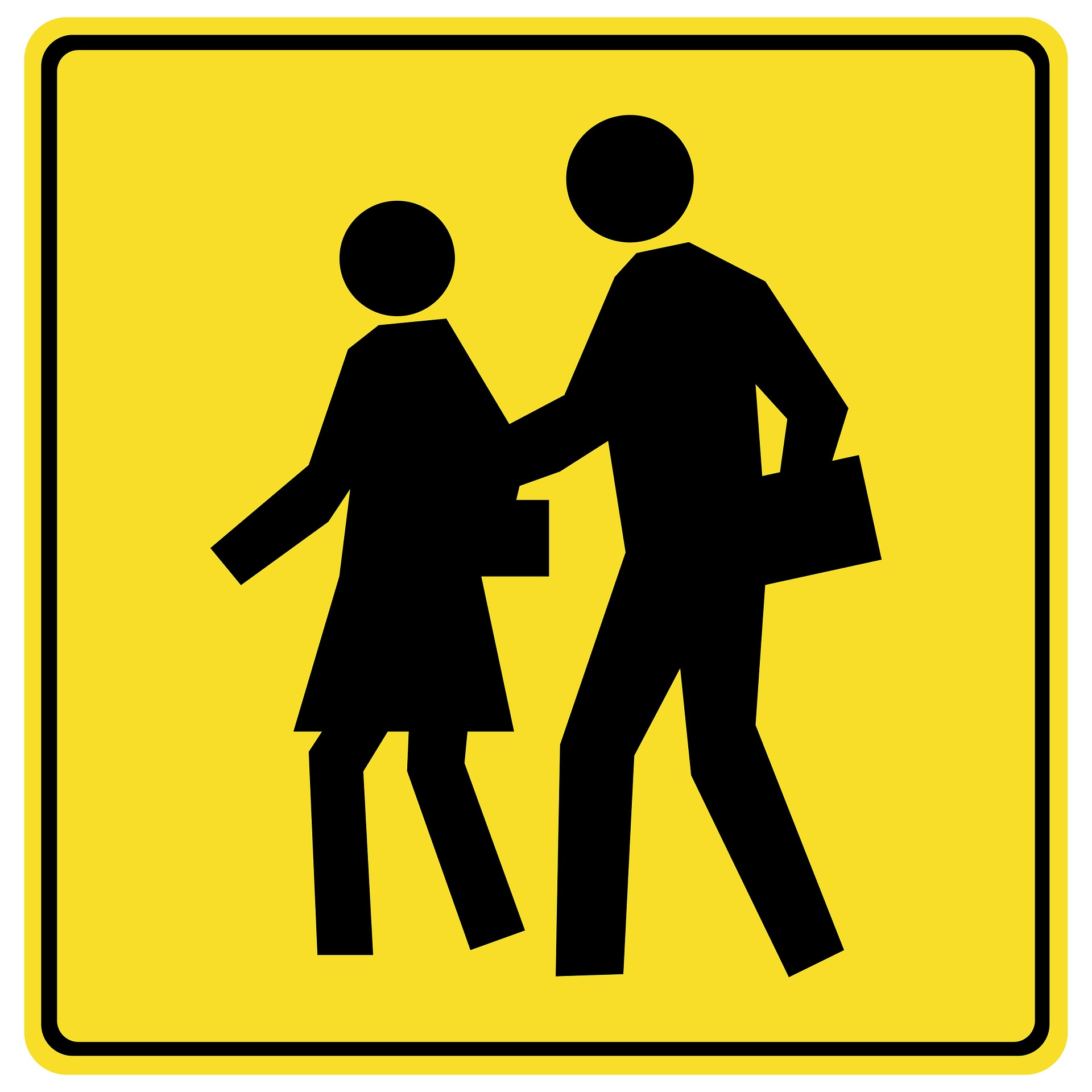 yellow and black pedestrian walking sign