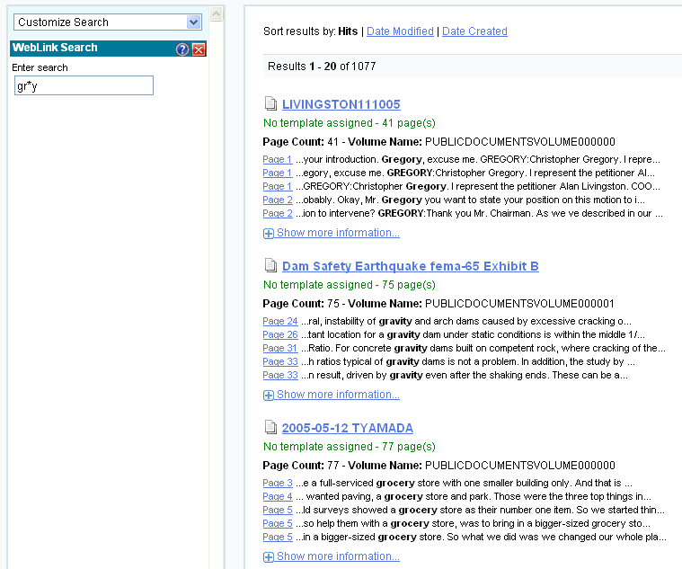Laserfiche Weblink search example screenshot