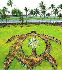 Students form Aerial Artwork at Mooheau Park